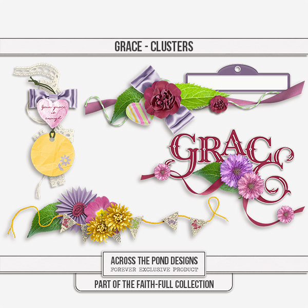 Faithfull Series - Grace - Clusters Digital Art - Digital Scrapbooking Kits
