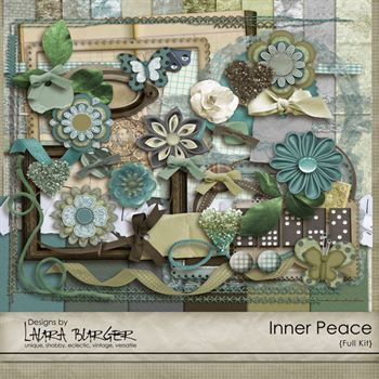 Inner Peace Scrap Kit Digital Art - Digital Scrapbooking Kits