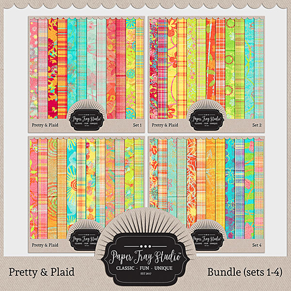 Pretty & Plaid - Bundle Digital Art - Digital Scrapbooking Kits