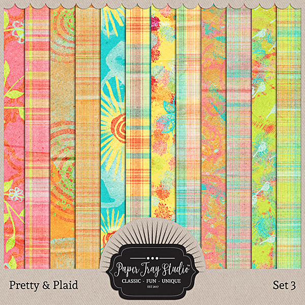 Pretty & Plaid - Set 3 Digital Art - Digital Scrapbooking Kits