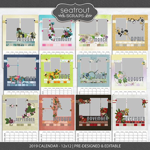 2019 Calendar 12x18 Pre-designed & Editable Digital Art - Digital Scrapbooking Kits