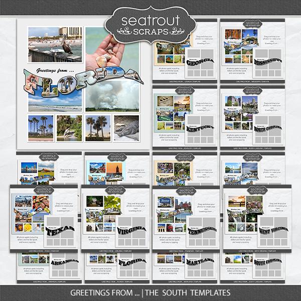 Greetings From ... The South Templates Digital Art - Digital Scrapbooking Kits