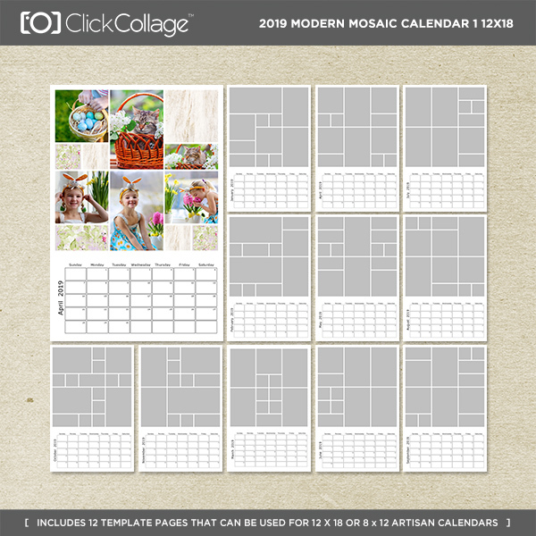 2019 Modern Mosaic Calendar 1 12x18 Digital Art - Digital Scrapbooking Kits