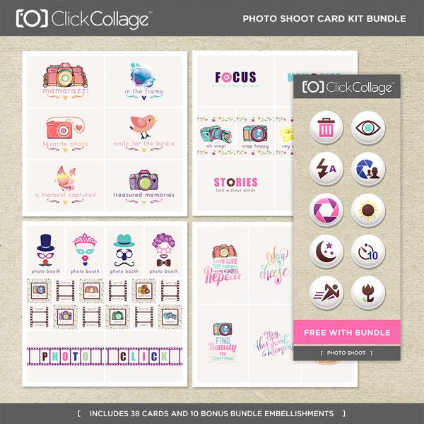 Photoshoot Card Kit Bundle Digital Art - Digital Scrapbooking Kits