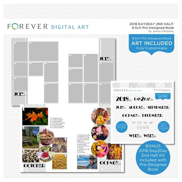 2018 Day2Day 2nd Half 8.5x11 Portrait Pre-designed Book Digital Art - Digital Scrapbooking Kits