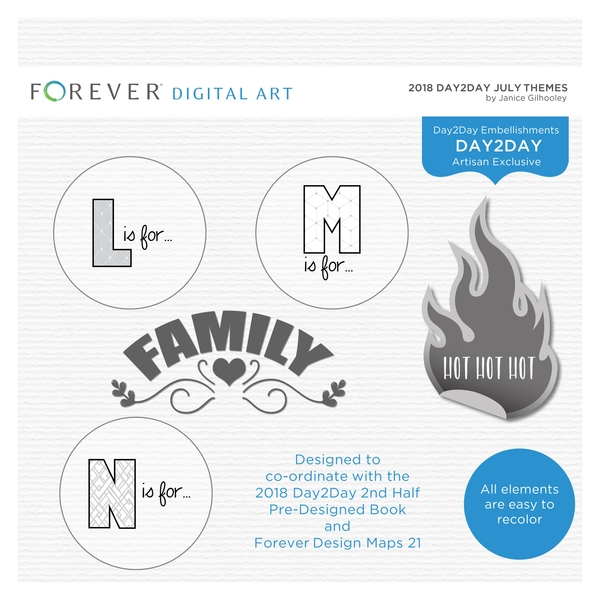 2018 Day2Day July Themes Digital Art - Digital Scrapbooking Kits