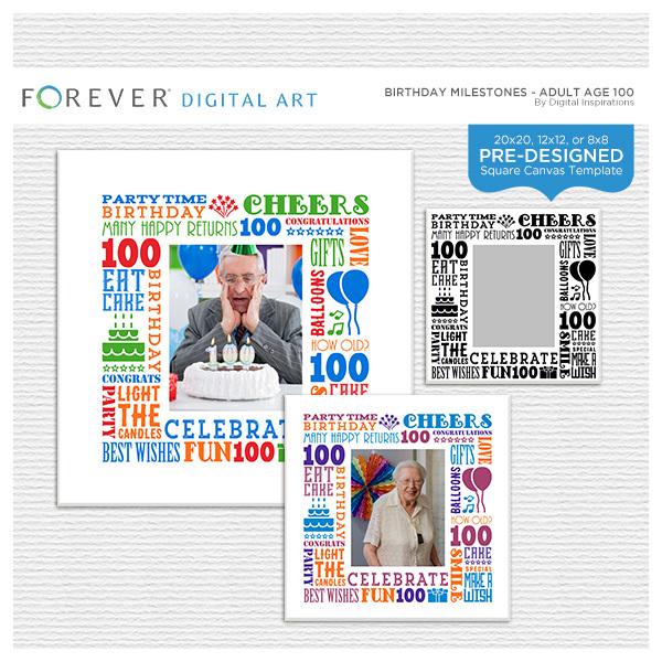 Birthday Milestones - Adult Age 100 Canvas
