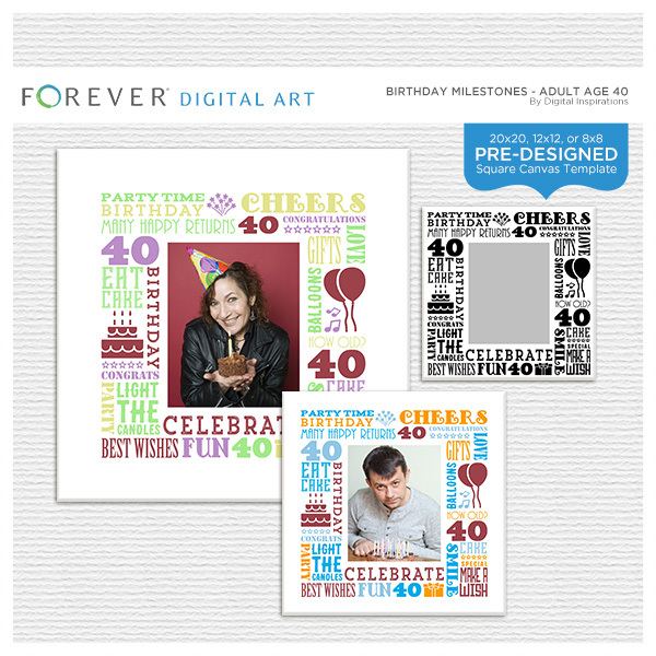 Birthday Milestones - Adult Age 40 Canvas Digital Art - Digital Scrapbooking Kits