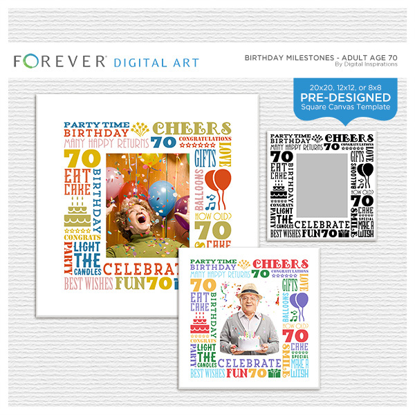 Birthday Milestones - Adult Age 70 Canvas Digital Art - Digital Scrapbooking Kits