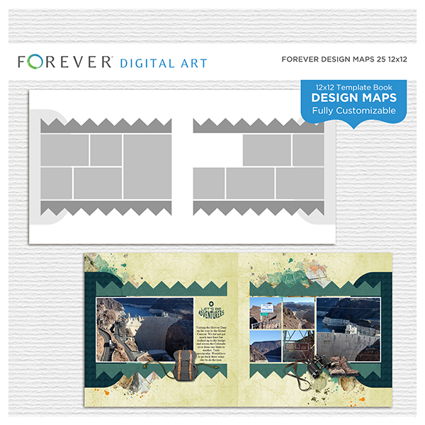 Forever Design Maps 25 12x12 Digital Art - Digital Scrapbooking Kits