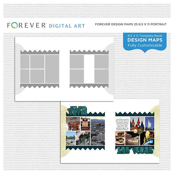 Forever Design Maps 25 8.5x11 Portrait Digital Art - Digital Scrapbooking Kits