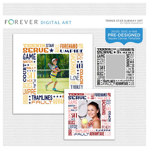 Tennis Star Subway Art Canvas Digital Art - Digital Scrapbooking Kits