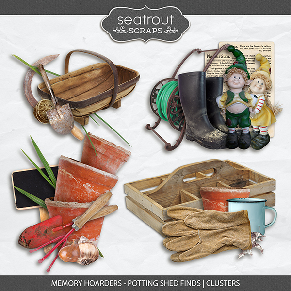 Memory Hoarders Potting Shed Finds - Clusters Digital Art - Digital Scrapbooking Kits