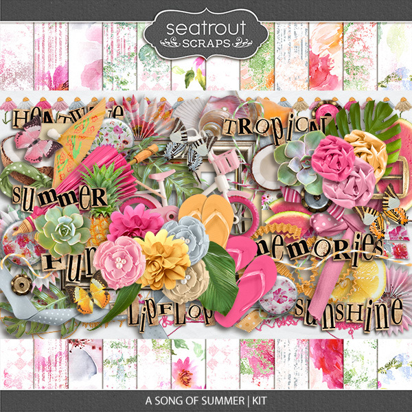 A Song Of Summer Kit Digital Art - Digital Scrapbooking Kits