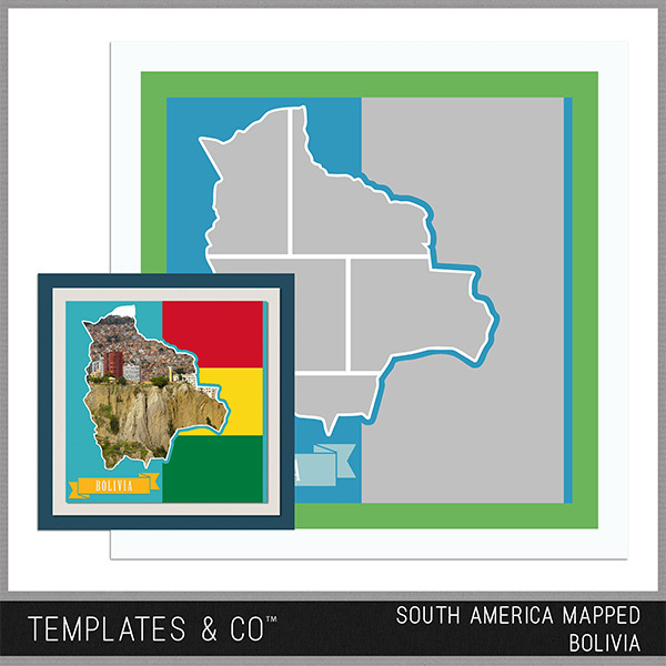South America Mapped - Bolivia Digital Art - Digital Scrapbooking Kits