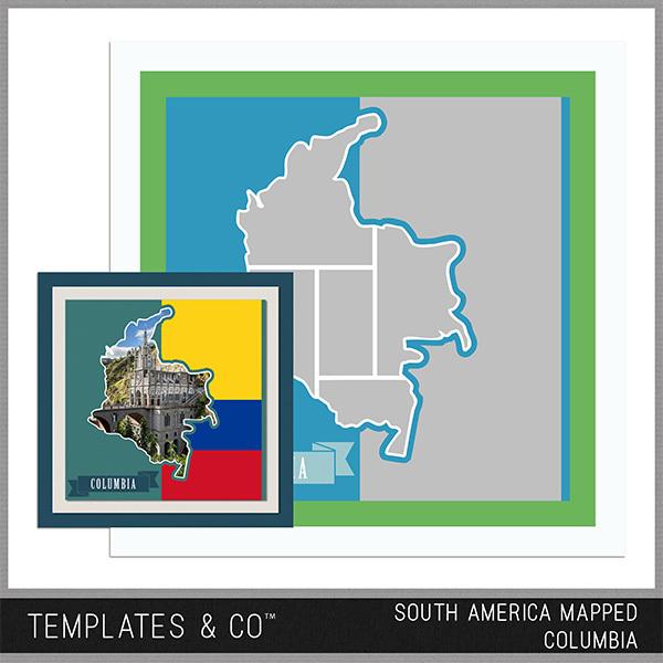 South America Mapped - Columbia Digital Art - Digital Scrapbooking Kits