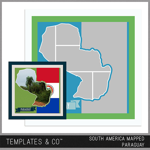 South America Mapped - Paraguay Digital Art - Digital Scrapbooking Kits