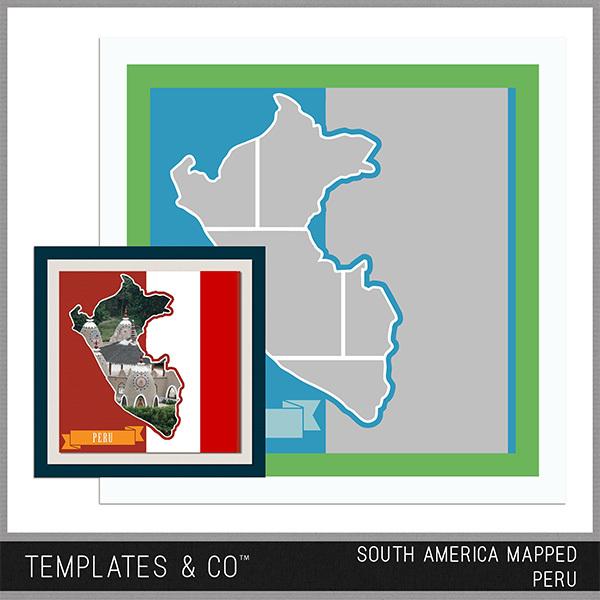 South America Mapped - Peru Digital Art - Digital Scrapbooking Kits
