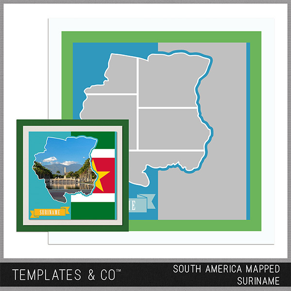 South America Mapped - Suriname Digital Art - Digital Scrapbooking Kits