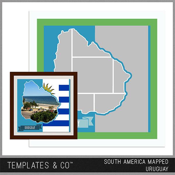 South America Mapped - Uruguay Digital Art - Digital Scrapbooking Kits