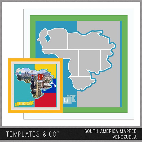 South America Mapped - Venezuela Digital Art - Digital Scrapbooking Kits