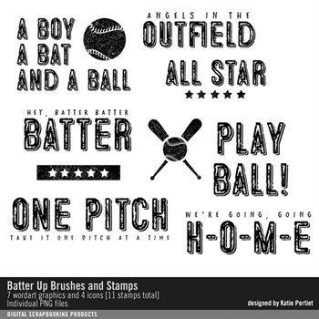 Batter Up Brushes And Stamps Digital Art - Digital Scrapbooking Kits