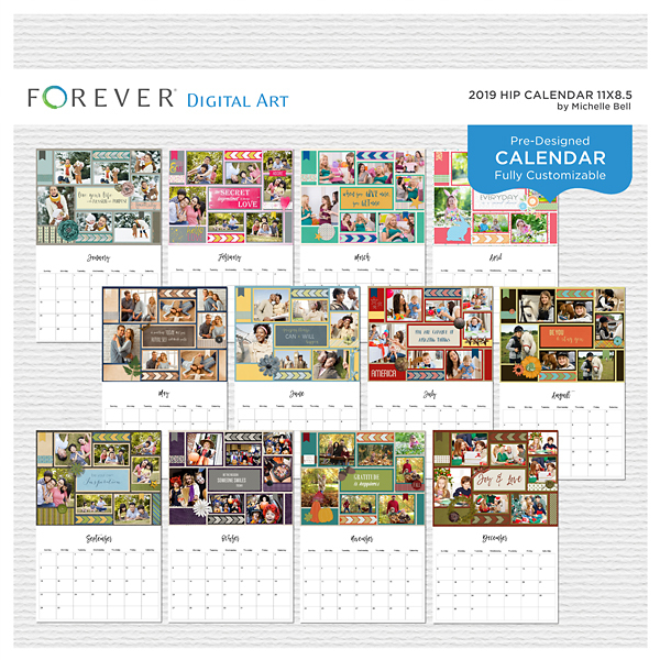 2019 Hip Calendar 11x8.5 Digital Art - Digital Scrapbooking Kits