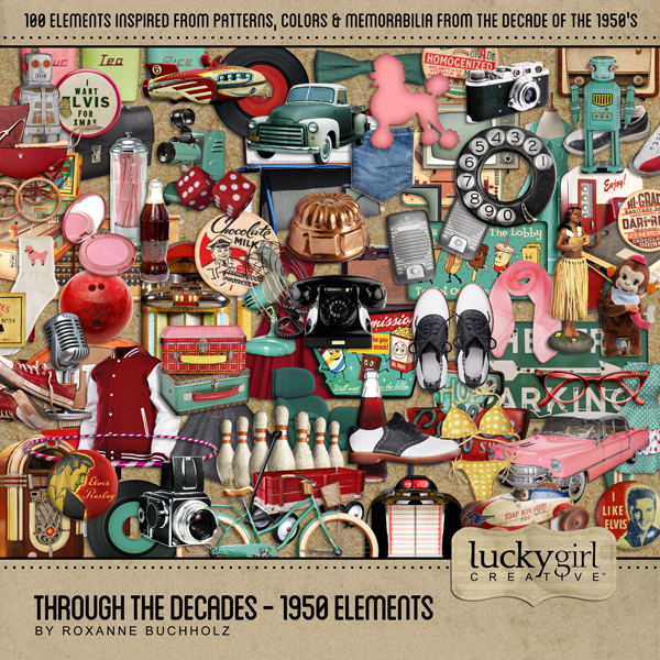 Through The Decades - 1950 Elements Digital Art - Digital Scrapbooking Kits