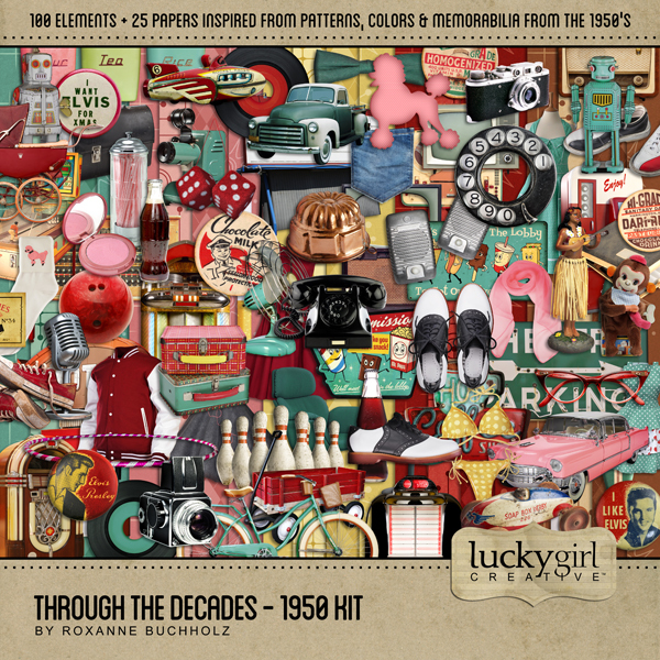 Through The Decades - 1950 Kit Digital Art - Digital Scrapbooking Kits