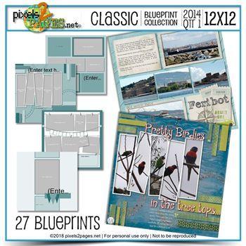 Classic Blueprint Collection 2014 - Quarter 1 (12x12) Digital Art - Digital Scrapbooking Kits
