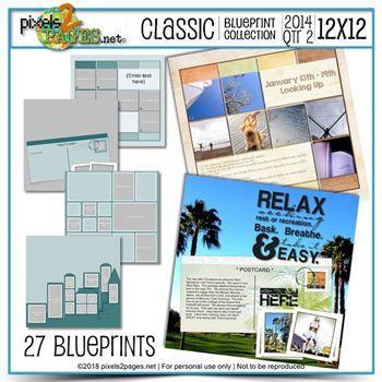 Classic Blueprint Collection 2014 - Quarter 2 (12x12) Digital Art - Digital Scrapbooking Kits