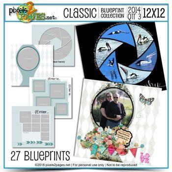 Classic Blueprint Collection 2014 - Quarter 3 (12x12) Digital Art - Digital Scrapbooking Kits