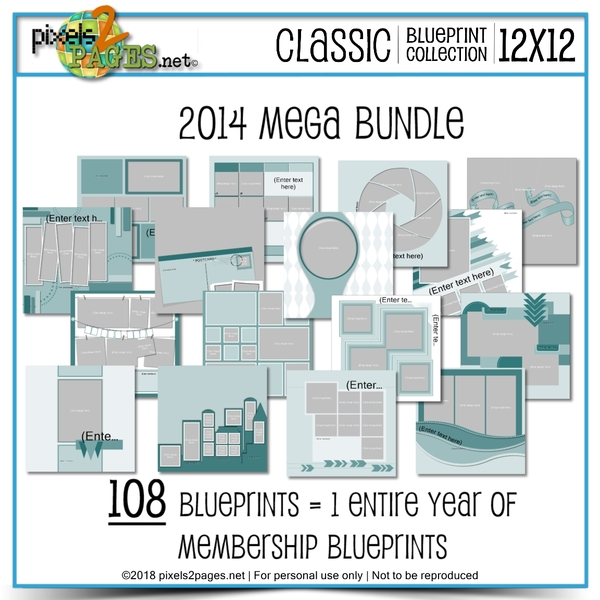 Classic Blueprint Collection 2014 Mega Bundle (12x12) Digital Art - Digital Scrapbooking Kits