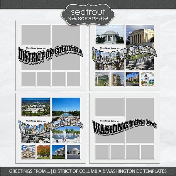 Greetings From ... District Of Columbia & Washington DC Templates Digital Art - Digital Scrapbooking Kits
