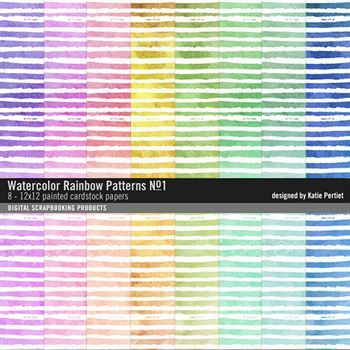 Watercolor Rainbow Patterned Paper Pack No. 01