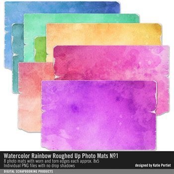 Watercolor Rainbow Roughed Up Photo Mats No. 01