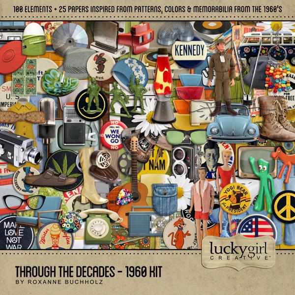 Through The Decades - 1960 Kit Digital Art - Digital Scrapbooking Kits