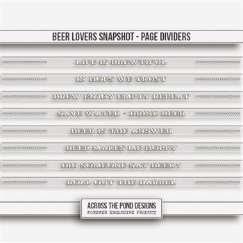 Beer Lovers Snapshot - Page Dividers Digital Art - Digital Scrapbooking Kits