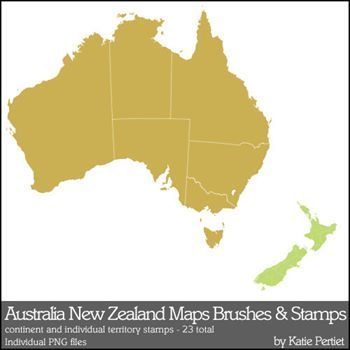 Australia And New Zealand Maps Brushes And Stamps