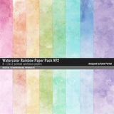Watercolor Rainbow Paper Pack No. 02