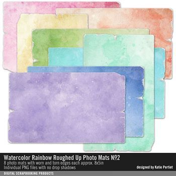 Watercolor Rainbow Roughed Up Photo Mats No. 02