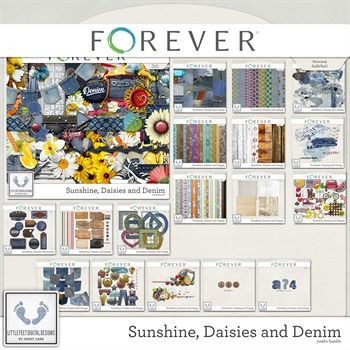 Sunshine, Daisies And Denim Jumbo Bundle Digital Art - Digital Scrapbooking Kits