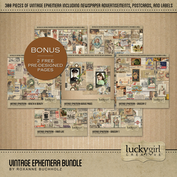 Vintage Ephemera Bundle Digital Art - Digital Scrapbooking Kits