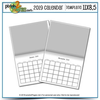 2019 11x8.5 Blank Calendar Template Digital Art - Digital Scrapbooking Kits