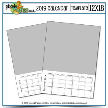 2019 12x18 Blank Calendar Template Digital Art - Digital Scrapbooking Kits