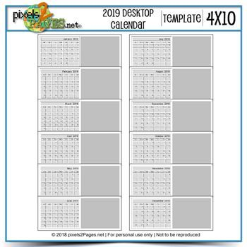 2019 4x10 Blank Desktop Calendar Template Digital Art - Digital Scrapbooking Kits