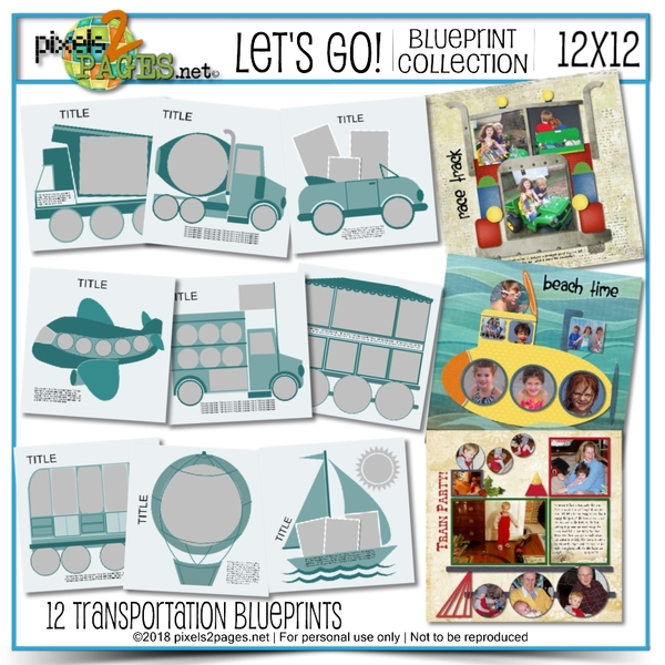 Let's Go Blueprint Collection (12x12) Digital Art - Digital Scrapbooking Kits