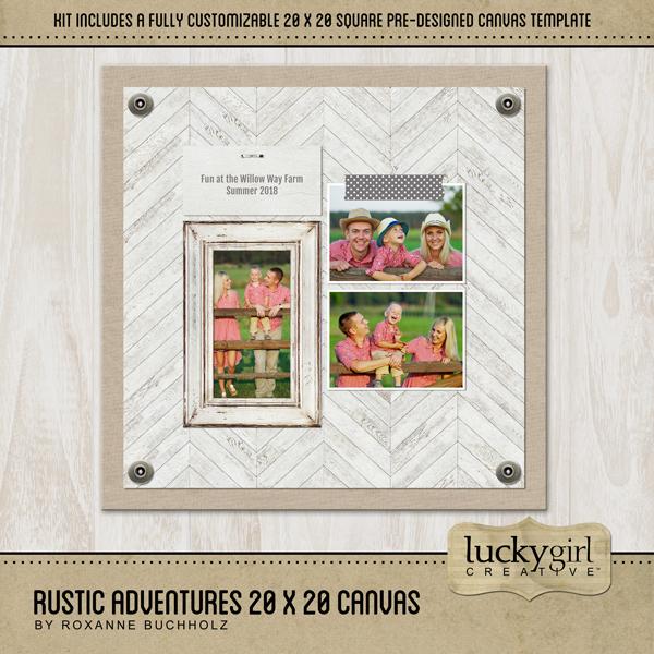 Rustic Adventures 20x20 Canvas Digital Art - Digital Scrapbooking Kits