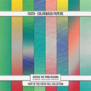 Faithfull Series - Faith Colorwash Papers Digital Art - Digital Scrapbooking Kits