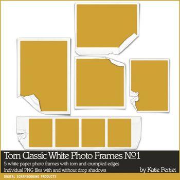 Torn Classic White Photo Frames No. 01